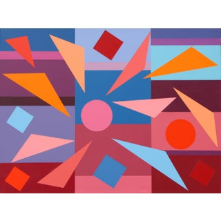 """""""Composition With Triangles No. 4"""" Contemporary Geometric Hard Edge Acrylic Painting by Sassoon Kosian For Sale"""