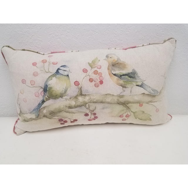 Two Birds With Berries Pillow - Made in Wales For Sale - Image 11 of 11