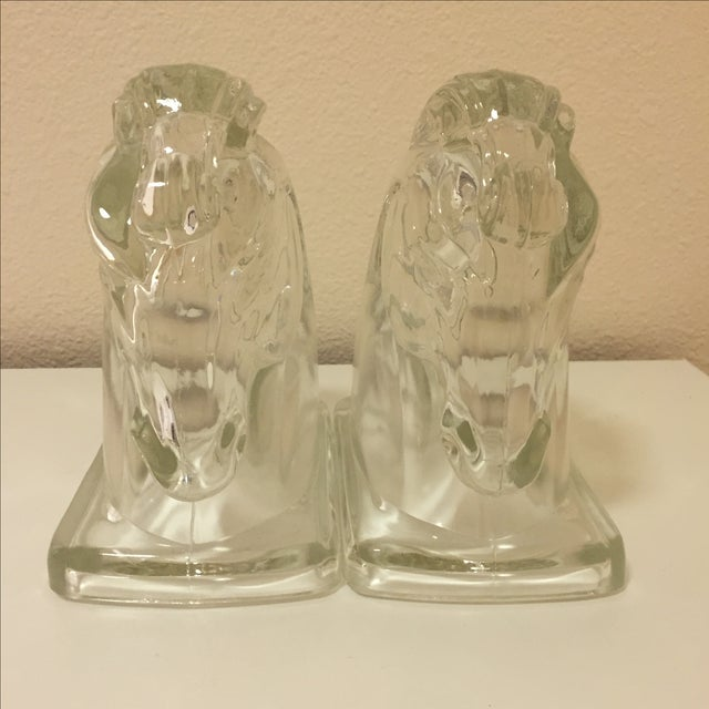 Art Deco Glass Horse Head Bookends - A Pair - Image 4 of 5
