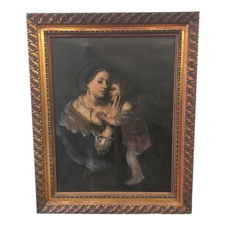 """Antique """"Mother With Child"""" Oil Painting on Canvas"""