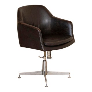 Vintage Chrome and Leather Office Chair For Sale