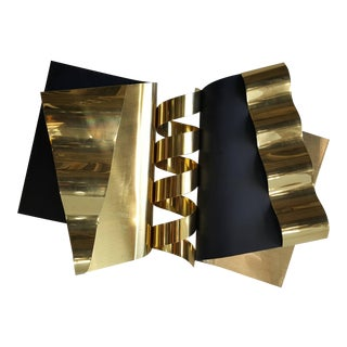1970's Modernist Abstract Brass and Enamel Wall Sculpture by C. Jere For Sale