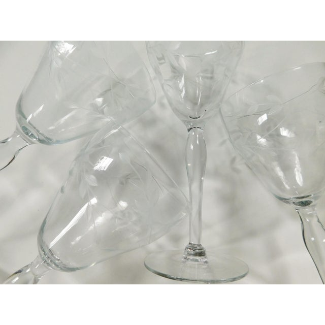 Glass Etched Clear Wine Glasses - Set of 4 For Sale - Image 7 of 13