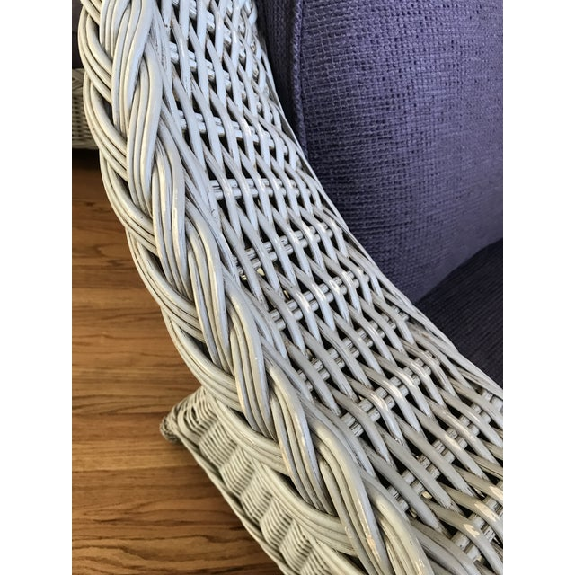 Wicker Palecek Designer Lounge Chair & Ottoman - a Pair For Sale - Image 7 of 8