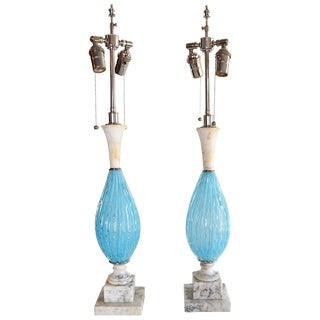 Seguso Aqua Blue Murano Glass and Italian Marble Lamps - a Pair For Sale