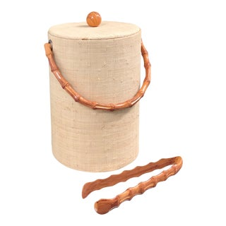 Vintage Grasscloth Ice Bucket and Tong Set
