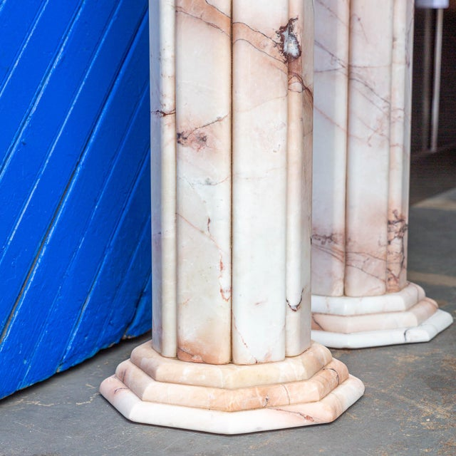 Art Deco Vintage Deco Style White and Pink Columns – a Pair For Sale - Image 3 of 9