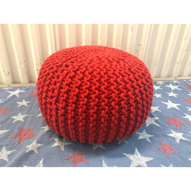 Prime Vintage Flame Red Retro Knitted Crochet Foot Stool Pouf Cjindustries Chair Design For Home Cjindustriesco
