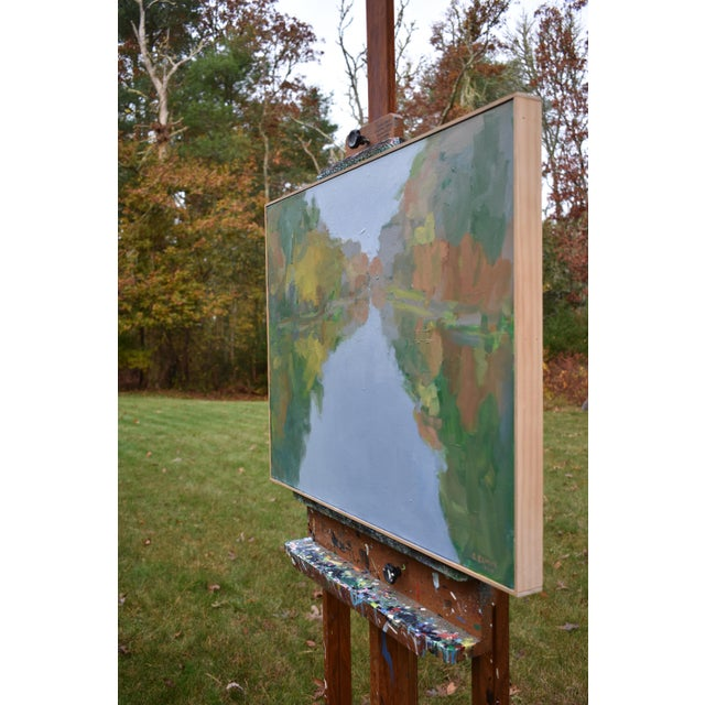 """Green Contemporary Landscape Painting by Stephen Remick, """"Overcast Autumn Day at the Pond"""" For Sale - Image 8 of 11"""