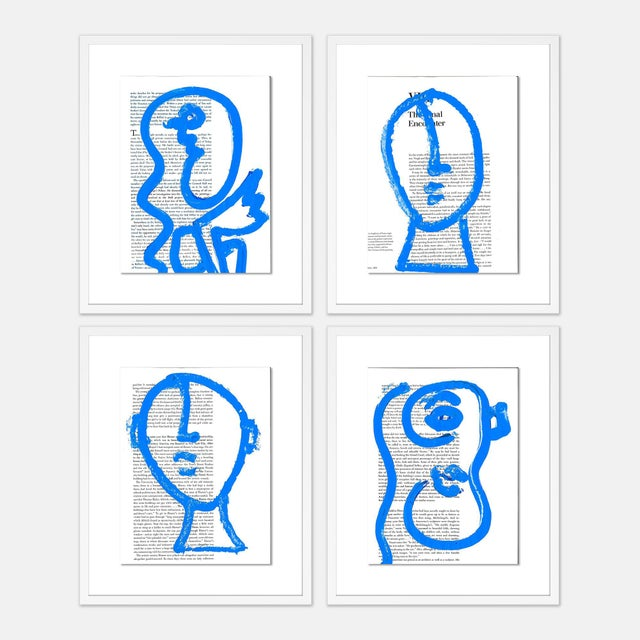 Contemporary Blue Portraits 4pc Set by Virginia Chamlee in White Frame, Small Art Print For Sale - Image 3 of 3
