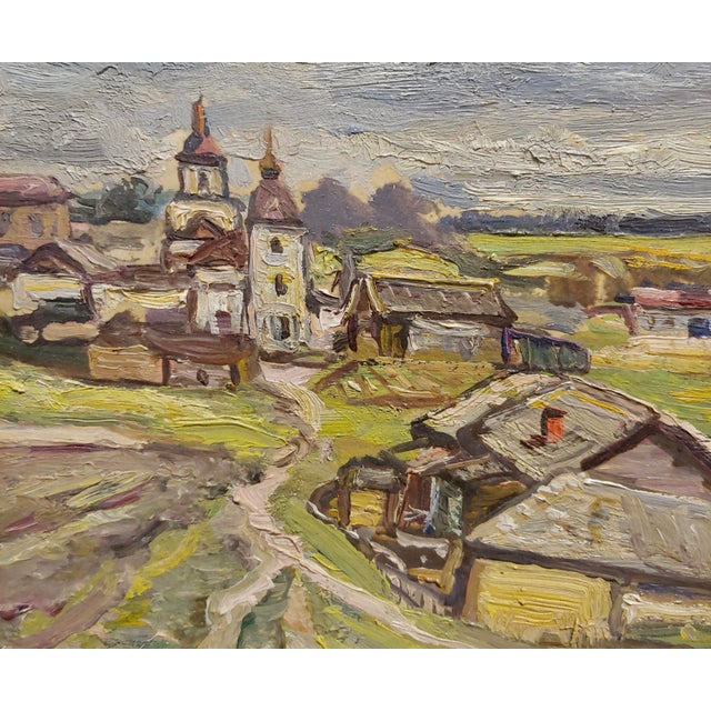 Tatyana Radimova -Khotkovo Village Landscape-1968 Russian Oil Painting For Sale - Image 4 of 10