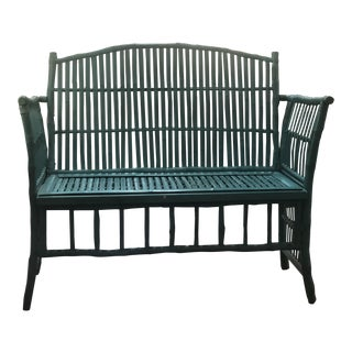 Turquoise Painted Bamboo Bench With Backrest. For Sale