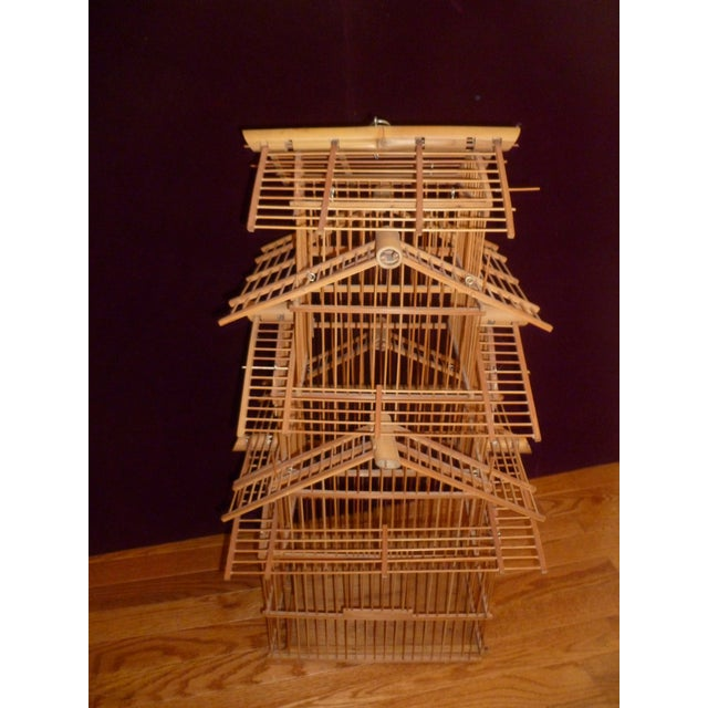 Asian 1970s Bamboo Wood Bird Cage For Sale - Image 3 of 8