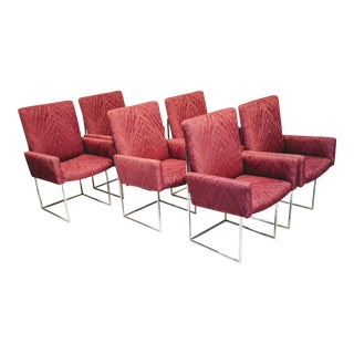 Mid-Century Modern Burgundy Milo Baughman for Thayer Coggin Captain Dining Chairs - Set of 6 For Sale