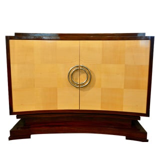 Aphelion Elliptical Faced Door Cabinet in Sycamore and Santos Rosewood For Sale