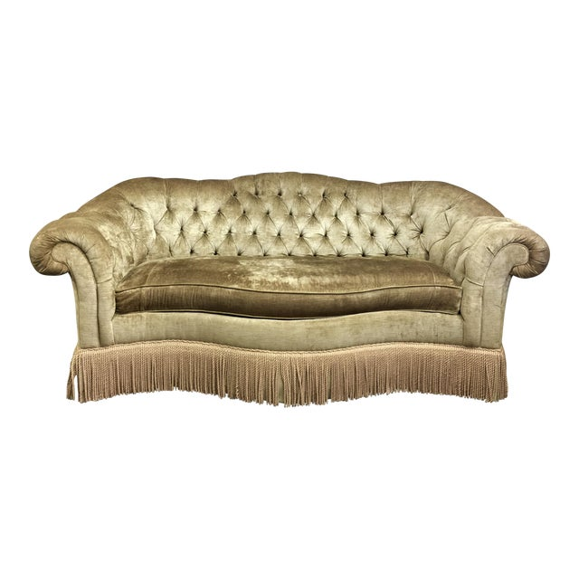 Tufted Velvet Chesterfield Sofa With Fringe by Century Furniture For Sale