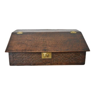 18th Century English Oak Carved Bible Box For Sale