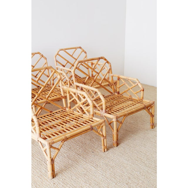 Brown Jordan Chinese Chippendale Rattan Bamboo Lounge Chairs For Sale - Image 11 of 13