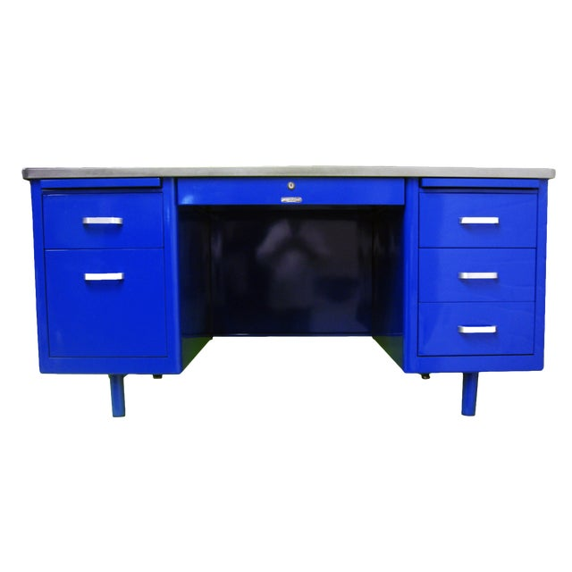 Vintage Mid-Century Modern Blue Steel Tanker Desk For Sale