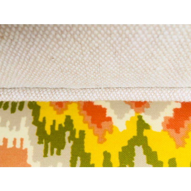 Orange Mid Century Brunschwig and Fils Cotton Print Pillows - a Pair For Sale - Image 8 of 10