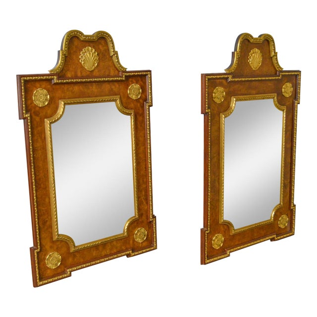 Friedman Brothers French Louis Xv Style Burl Wood Gilt Mirrors A Pair