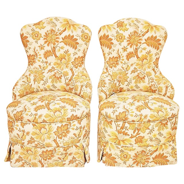 Brocade Slipper Chairs - A Pair - Image 1 of 6