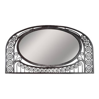 Art Deco Wrought Iron Mirror With Scroll Detailing For Sale