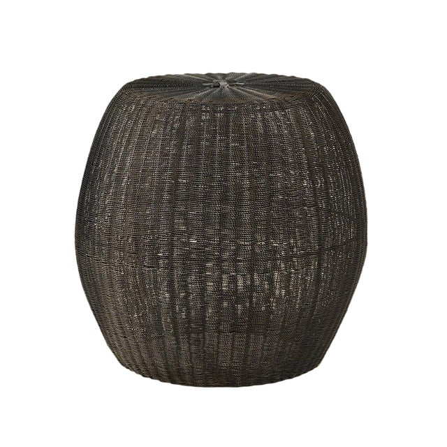 Blackened Wire Barrel Stool For Sale
