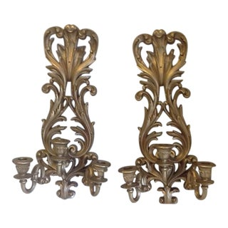Vintage Syroco Gold Triple Wall Sconces - a Pair For Sale