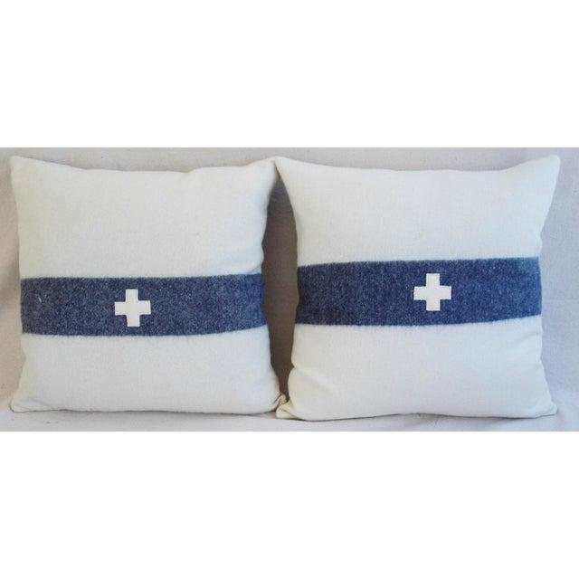 Nautical White & Blue Stripe Wool & Linen Pillows - a Pair - Image 5 of 10