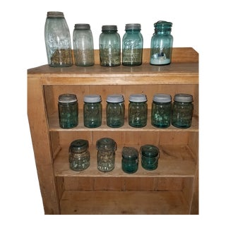 1940s Rustic Mason & Bell Blue Glass Jars Set - 20 Pieces For Sale