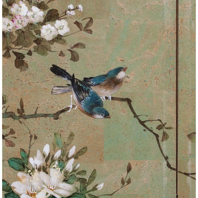 Early 20th Century Japanese Four Panel Byobu Screen For Sale In Dallas - Image 6 of 13