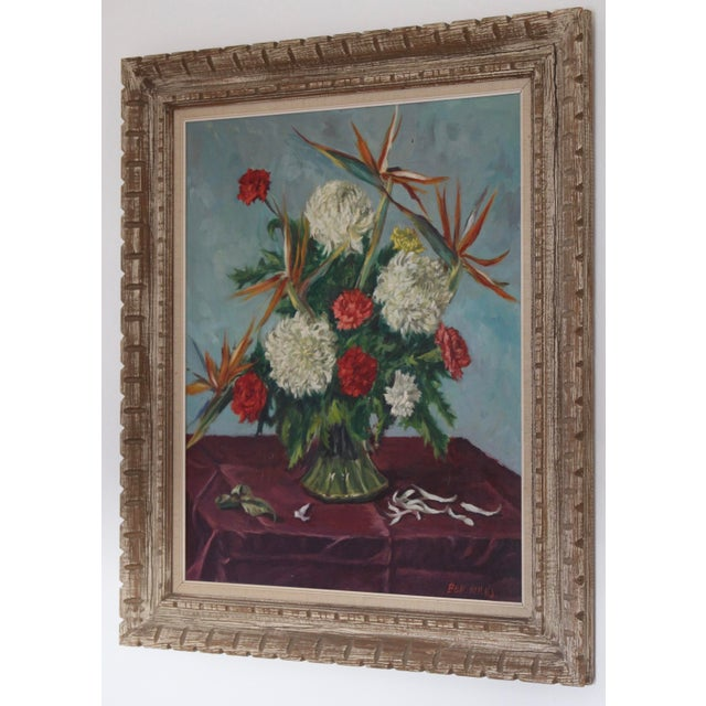 1970s Still Life Flowers With Burgundy Cloth Painting by Ben Wilks For Sale - Image 5 of 13