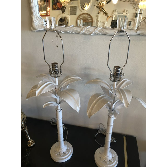 Silver Vintage Hollywood Regency White Lacquered Chrome Lucite Palm Tree Table Lamps - A Pair For Sale - Image 8 of 13