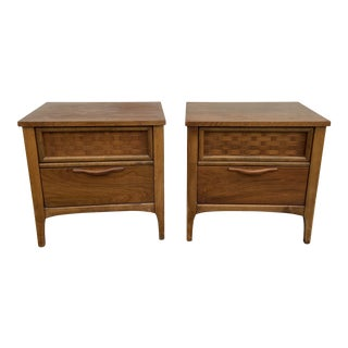 Mid Century Modern Basketweave Nightstands - a Pair For Sale