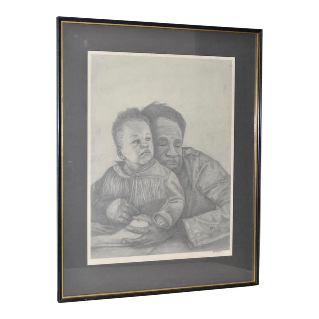 Circa 1960s Father and Son Pencil Portraits - Image 1 of 6