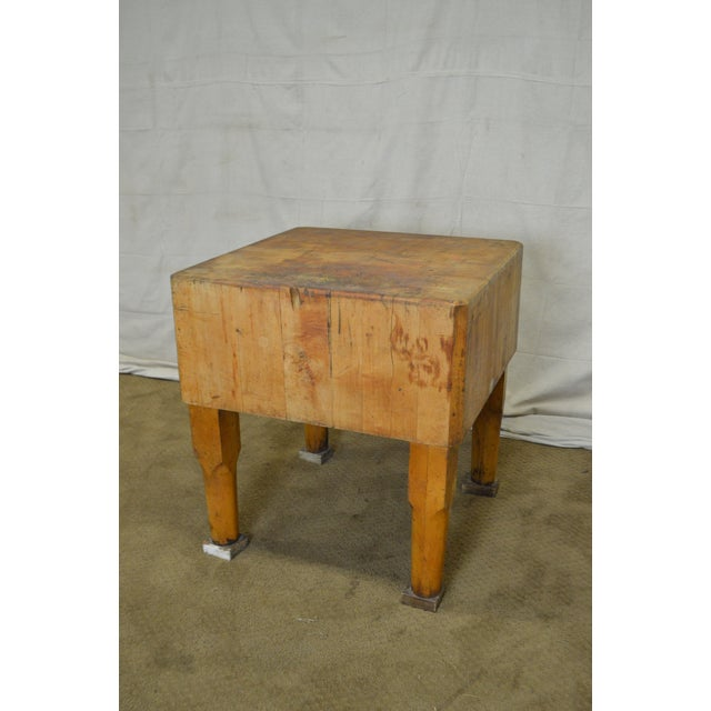 Brown Vintage Antique Maple Butcher Block Table by Bally Block Co. For Sale - Image 8 of 10