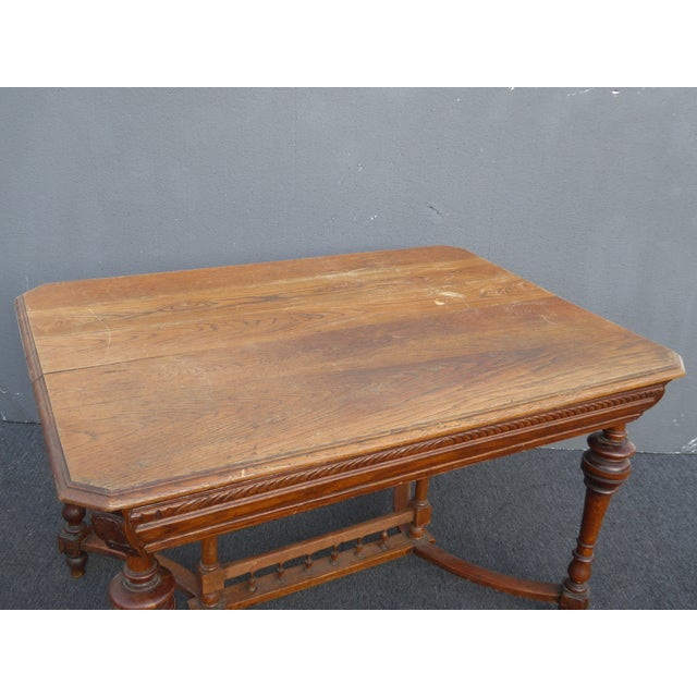 Antique Spanish Style Library Table Desk W Stretcher Mission Style For Sale - Image 9 of 13