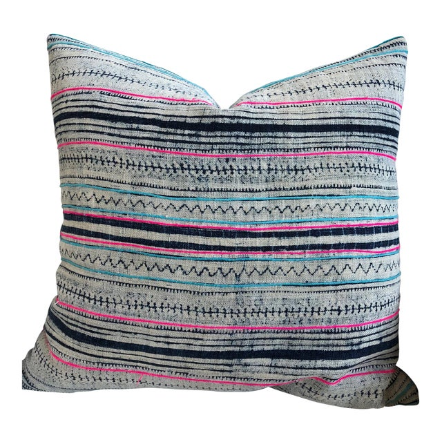 Pink and Navy Striped Pillow For Sale