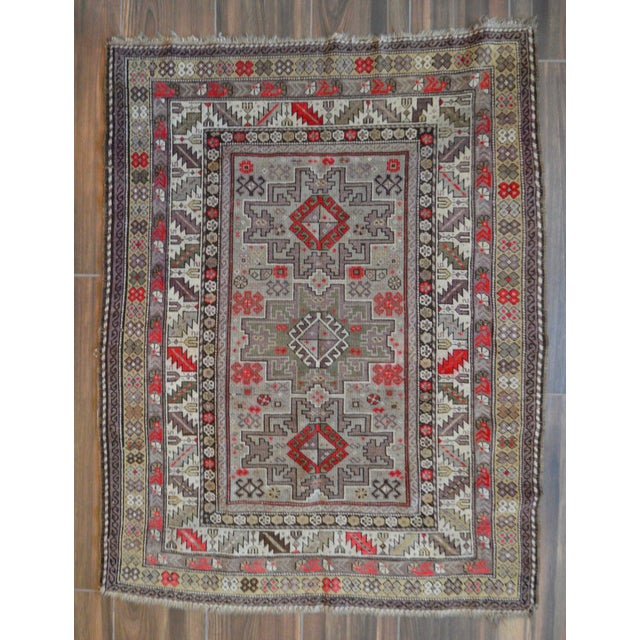 Distressed Vintage Star Kazak Rug - 3′9″ × 5′ - Image 2 of 9