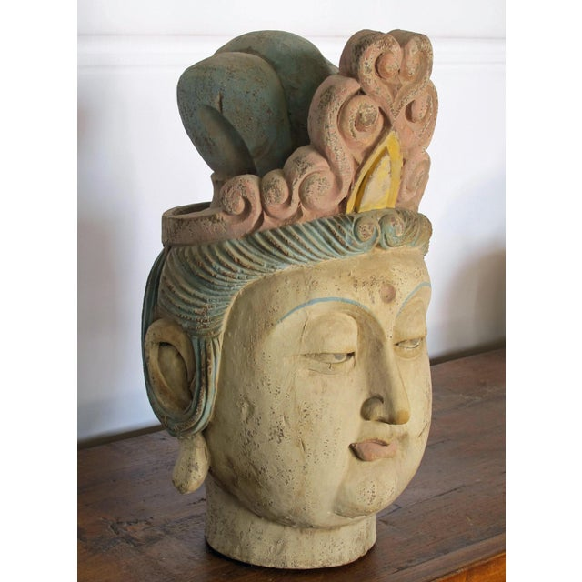 Asian Antique 1930s Chinese Guan Yin Wood Head With Muti Color Headdress For Sale - Image 3 of 5