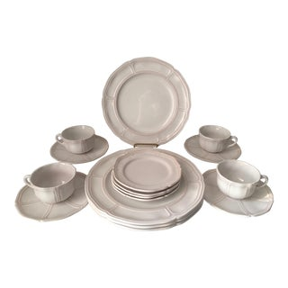 Vintage French Gien Faience 8 Place Settings Dinnerware - 38 Pieces For Sale