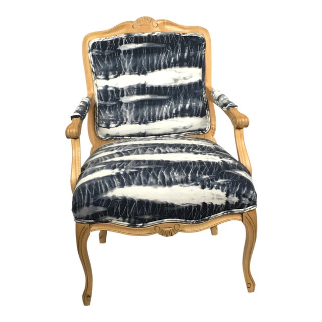 Hand Dyed Shibori Side Chair For Sale