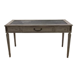 Antique Writing Desk With Black Slate Top