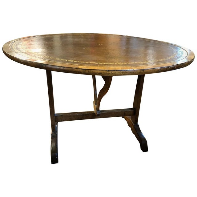Charles X French Provincial Tooled Leather Tilt-Top Table For Sale In Washington DC - Image 6 of 6