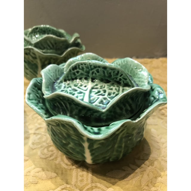 Mid-Century Modern Vintage Secla Majolica Green Cabbage Covered Soup Bowls - Set of 3 For Sale - Image 3 of 12
