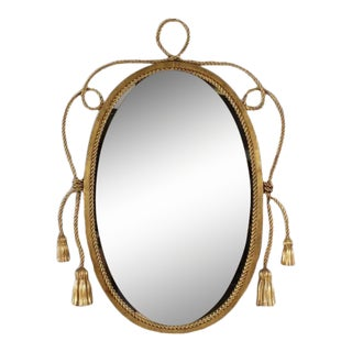 Tassel and Rope Gilt Metal Mirror For Sale