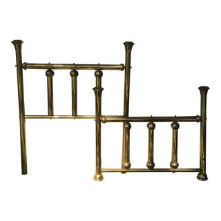 Vintage Twin Brass Headboard & Footboard For Sale