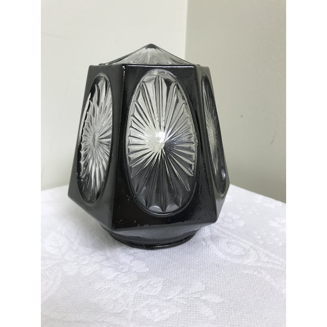 1950s Vintage Black & Clear Glass Hexagon Sconce Shade For Sale - Image 4 of 8