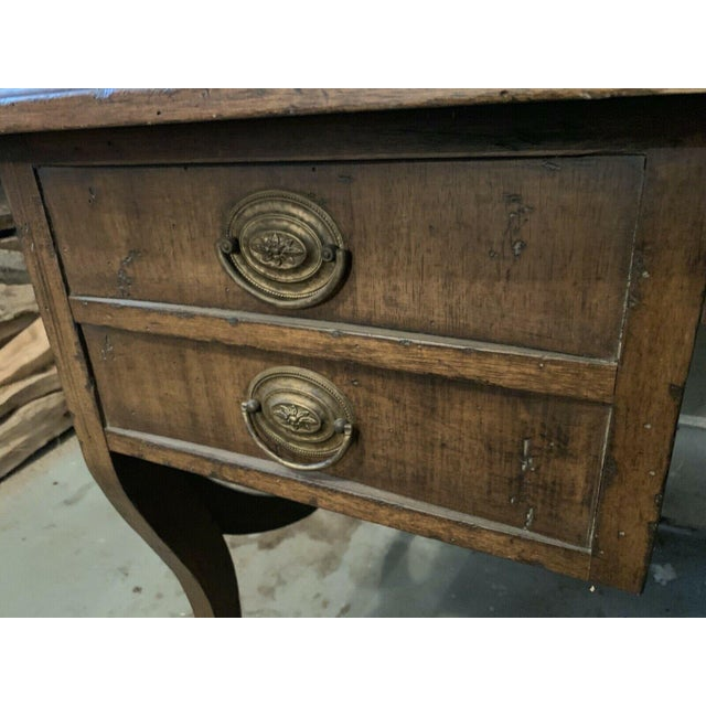Late 20th Century English Traditional Leather Top Writing Desk For Sale - Image 4 of 10